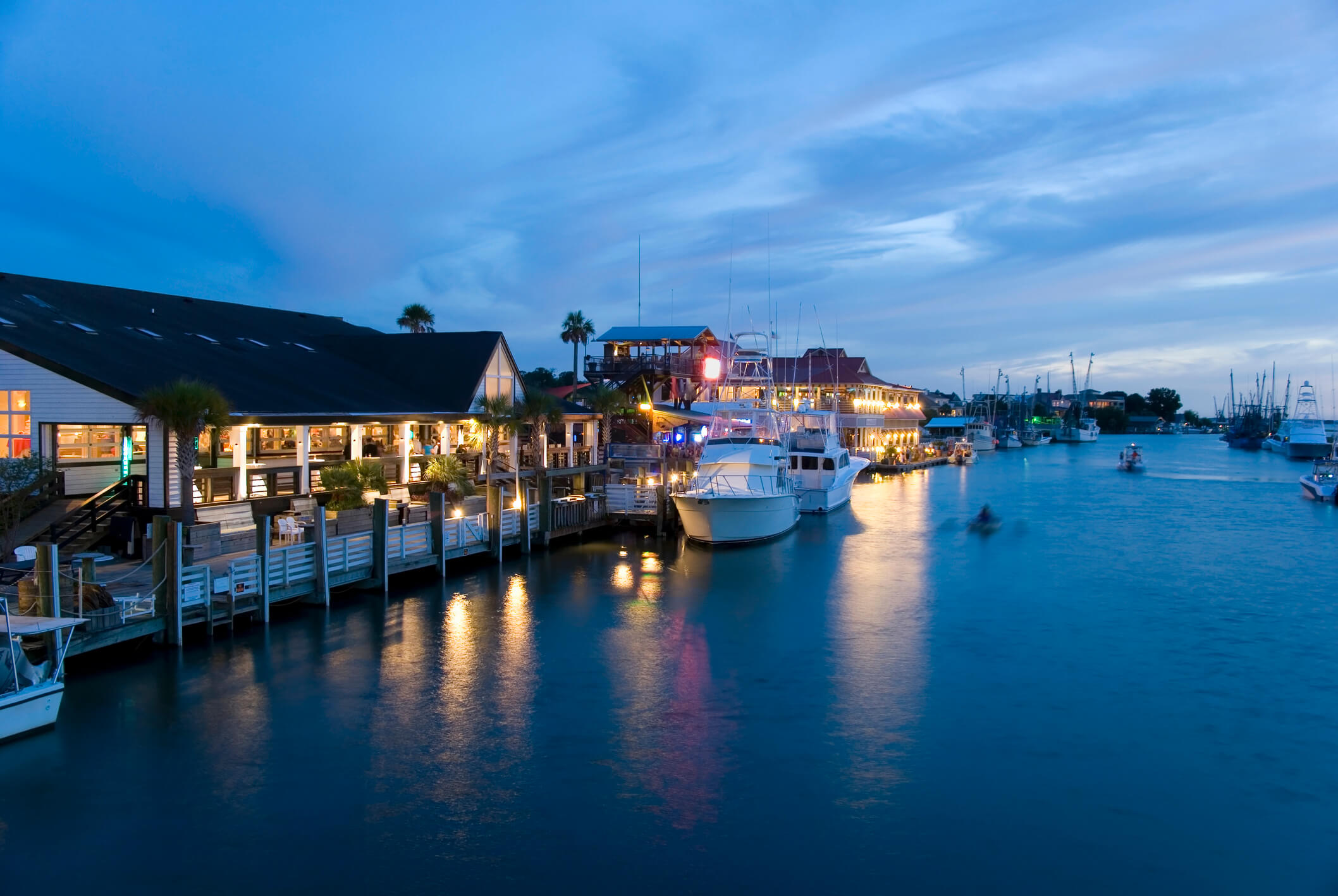 This is a photo of one of our locations in Mount Pleasant South Carolina, which is a dock with multiple boats sitting