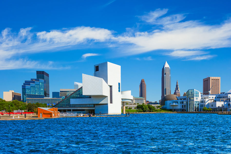 photo of downtown cleveland on a clear blue summer day