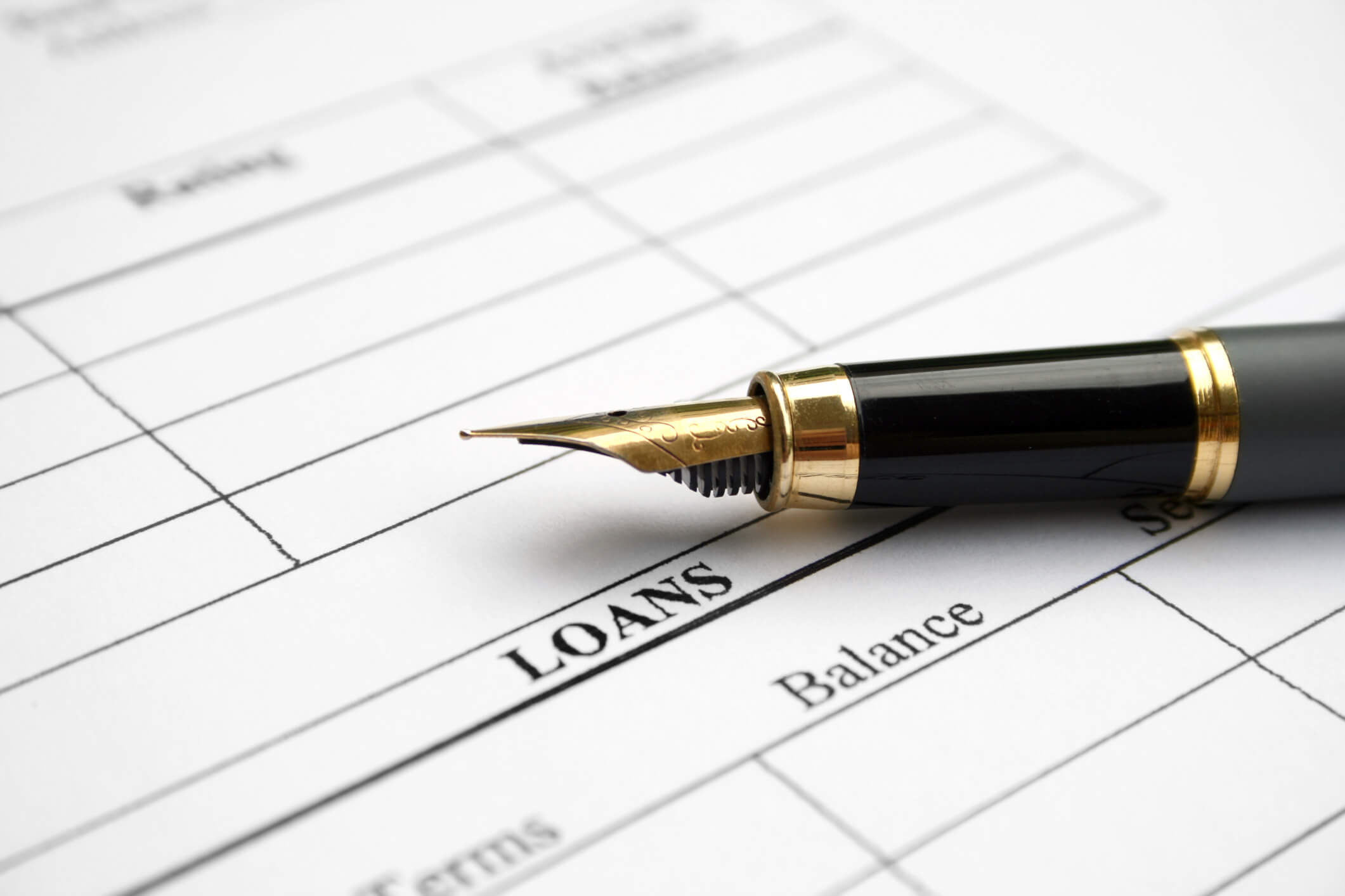 This is a photo of a form and a pen next to the blank space labeled loans