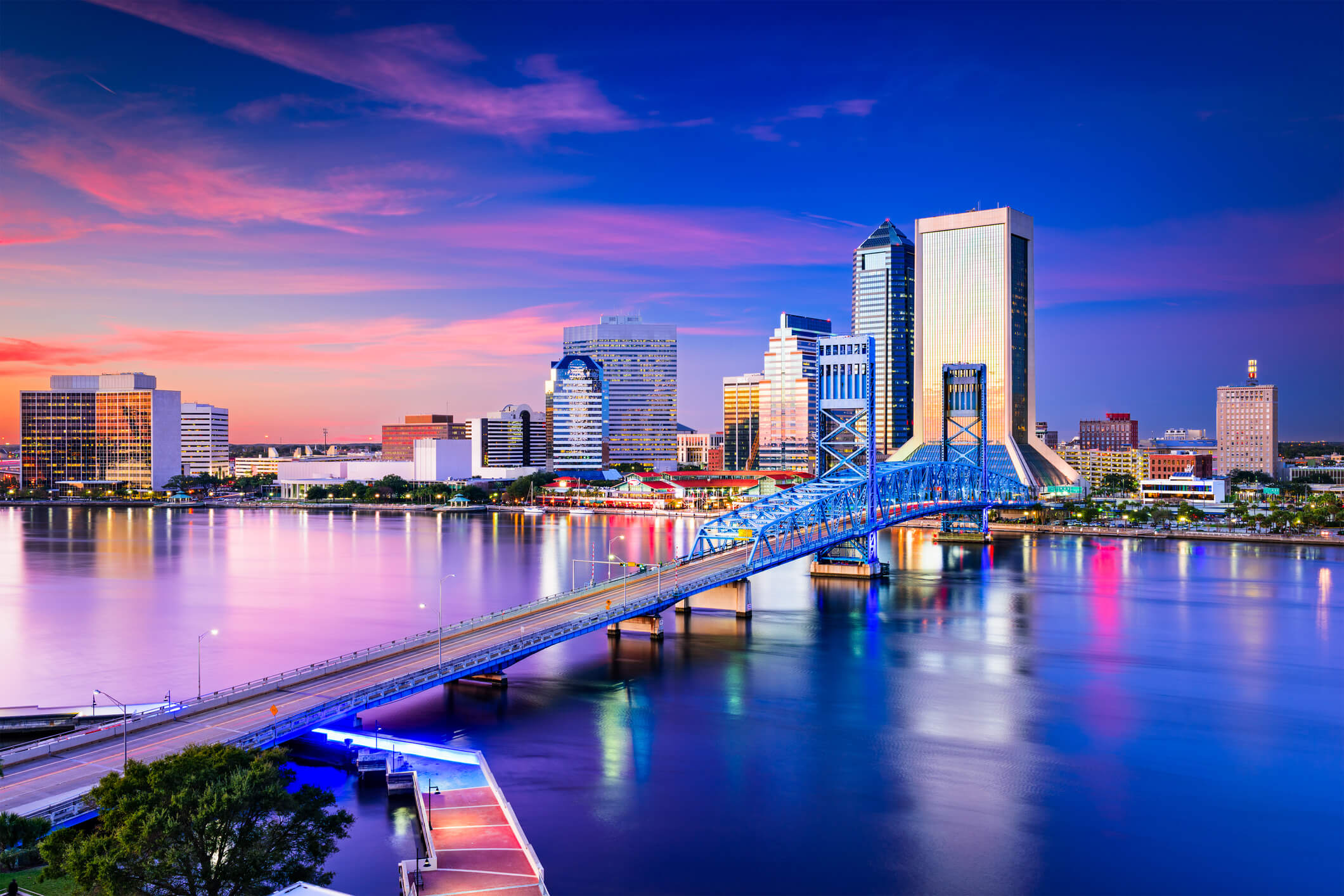 This is a photo of the florida jacksonville skyline over looking atlantic ocean. also one of the locations to get a title loan