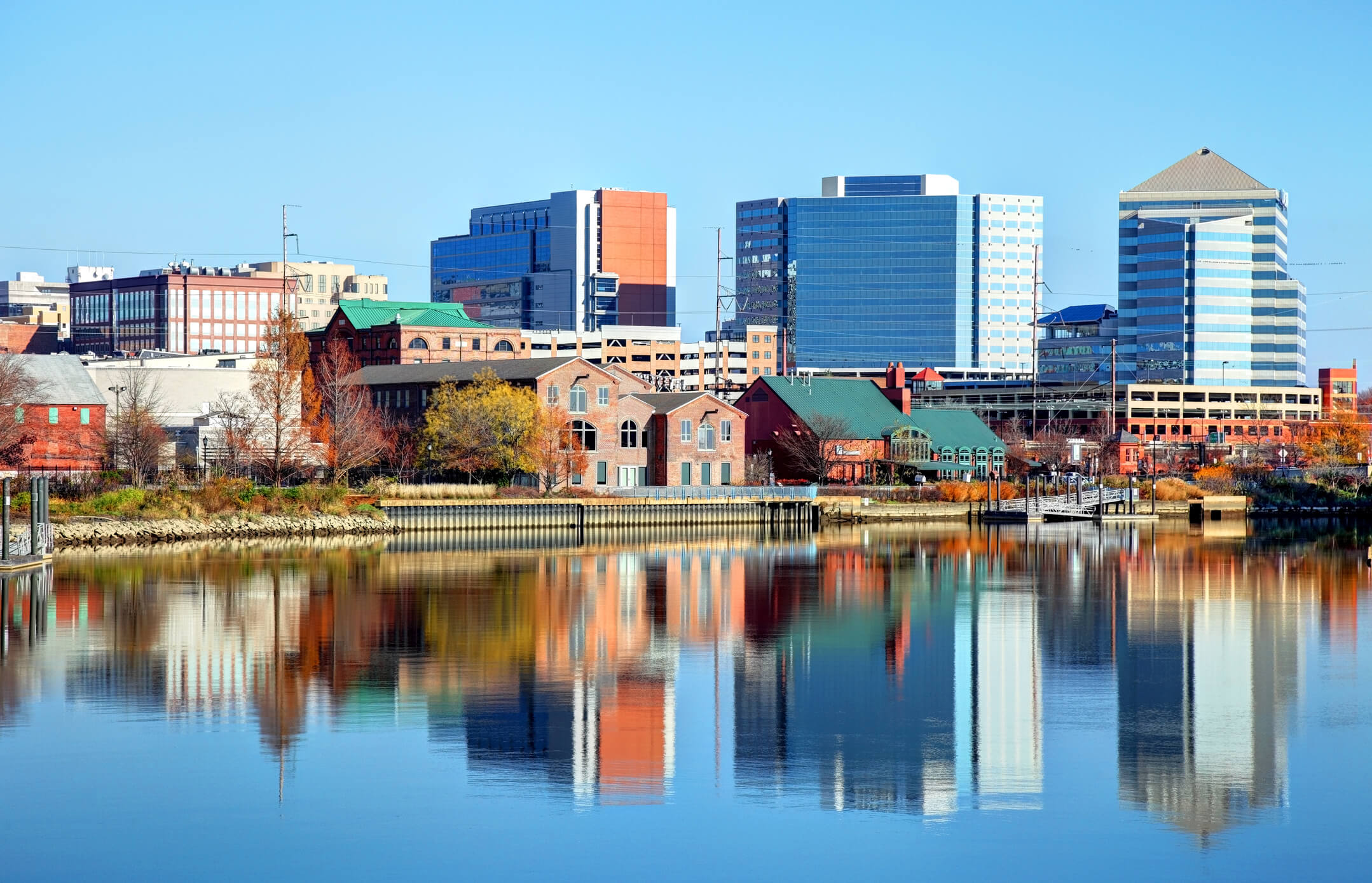 This is a photo of the wilmington delaware skyline overlooking a body of water