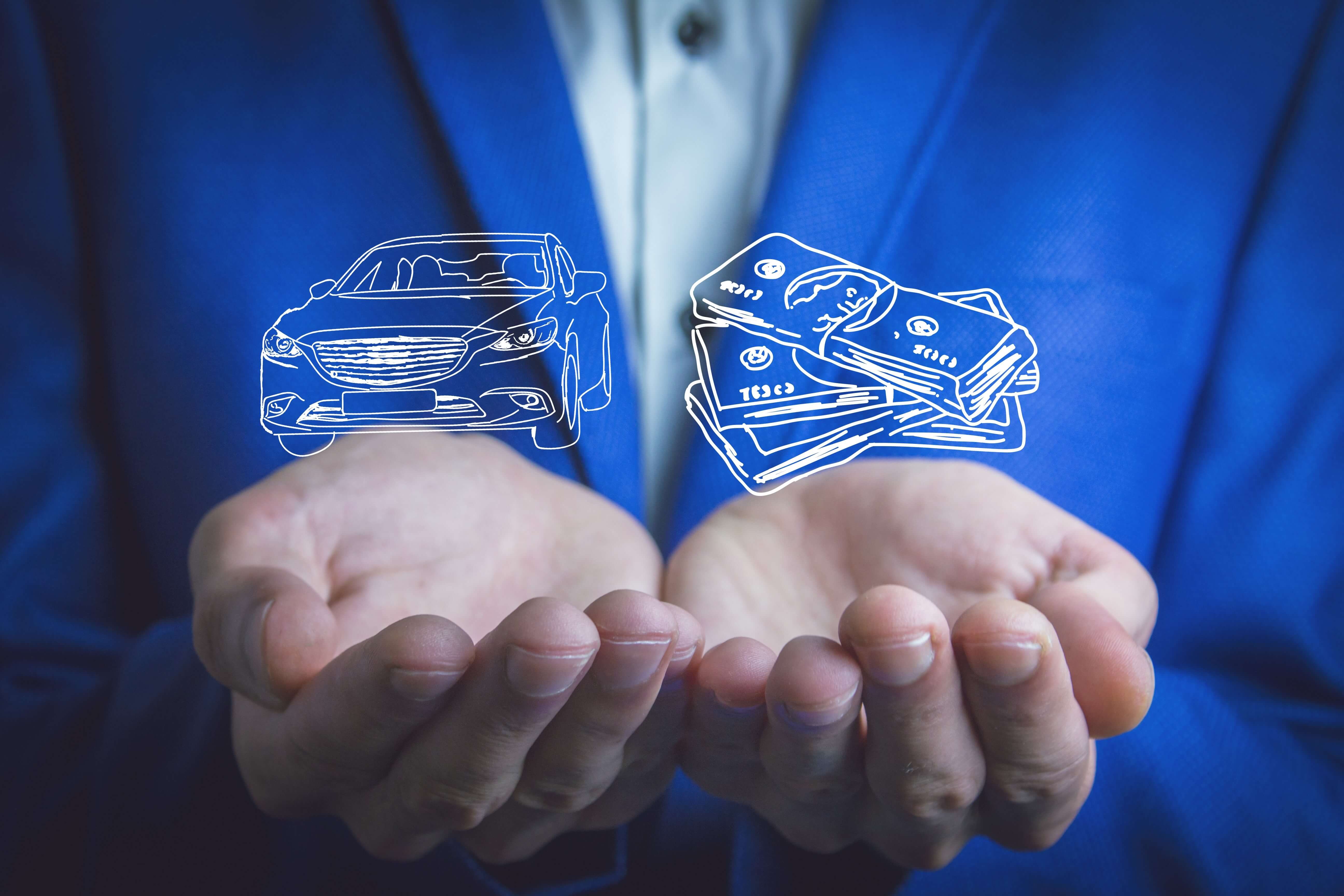 photo of a person with two things in each hand, one being a car one being money