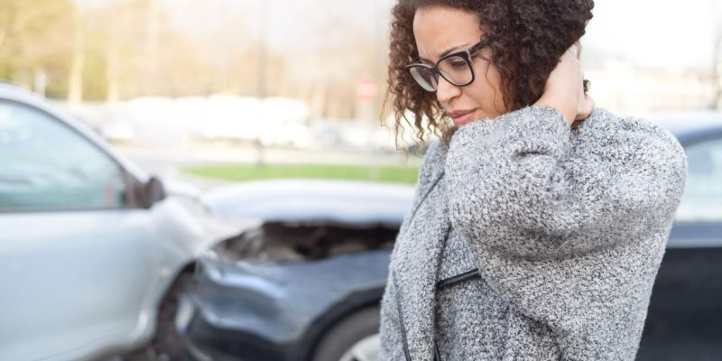 this is a photo of a woman reflecting here new car accident