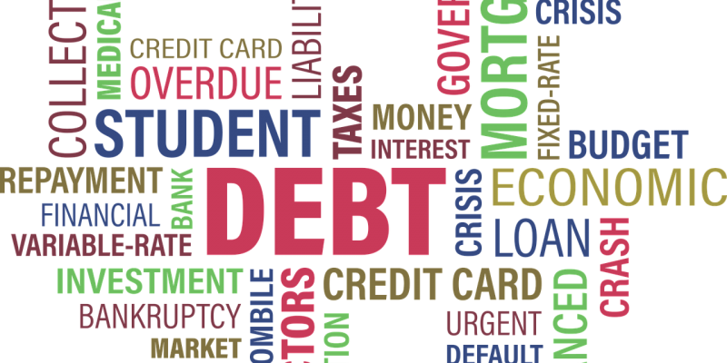 different texts/words ranging from: debt, loan, bank, mortgage, finance, borrow, business, etc....