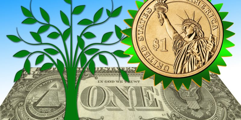 dollar bill with an illustration of a tree and a gold coin surrounded with green leaves.
