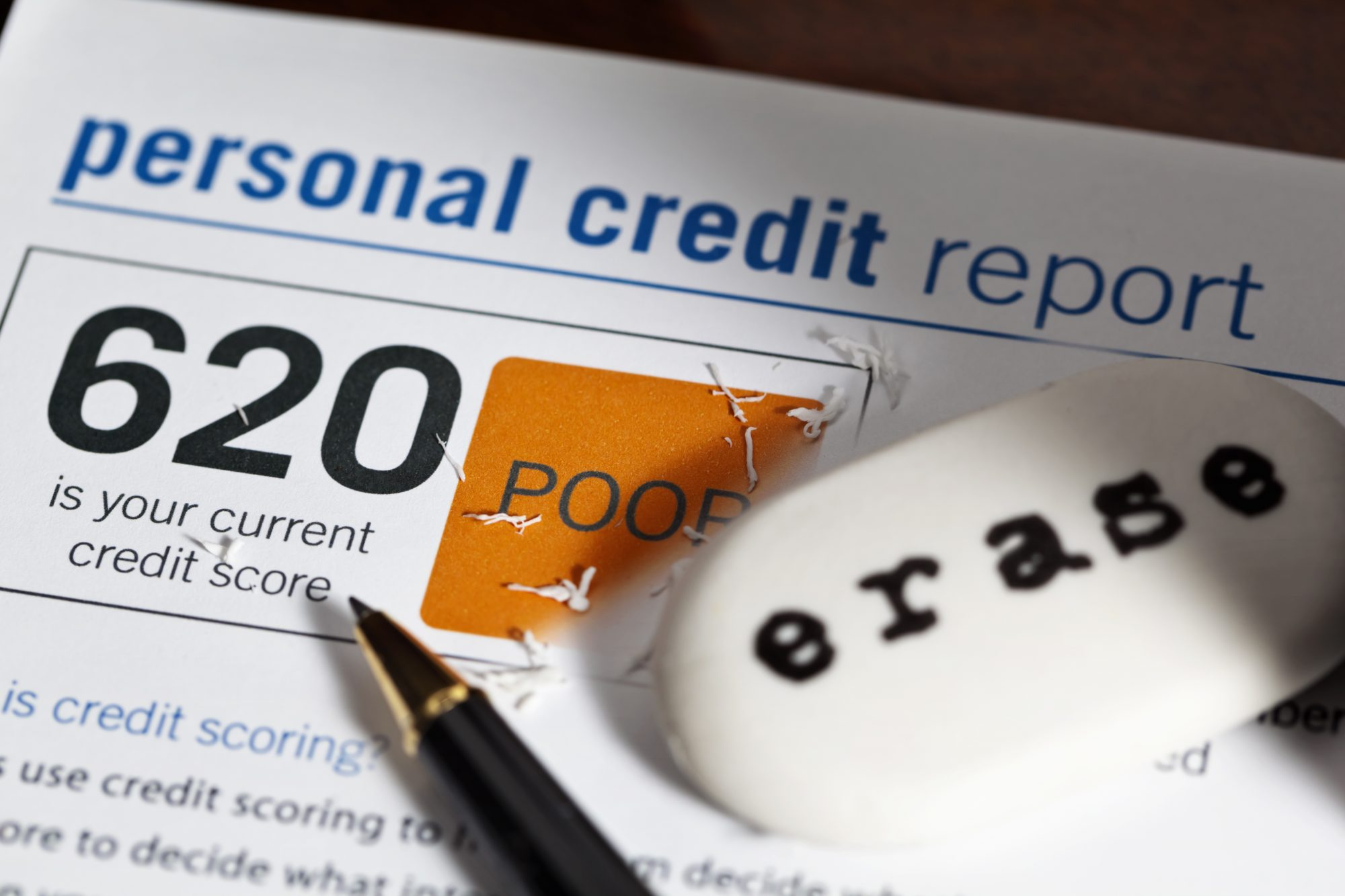 picture of personal credit report with score of 620